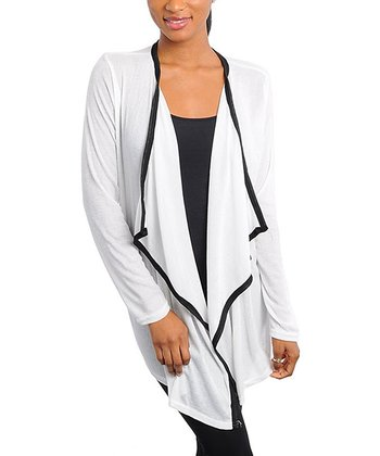 Ivory Draped Open Cardigan