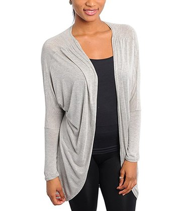 Gray Ruched Open Cardigan
