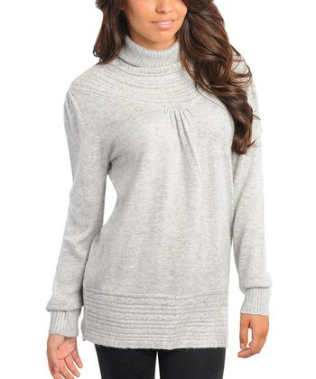 Gray Ribbed Turtleneck Sweater - Women