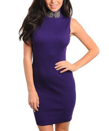 Purple Embellished Turtleneck Sweater Dress