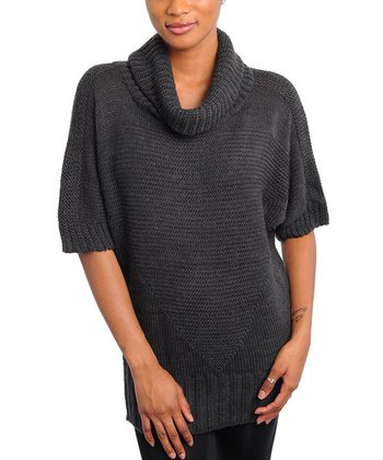 Charcoal Turtleneck Wool-Blend Sweater