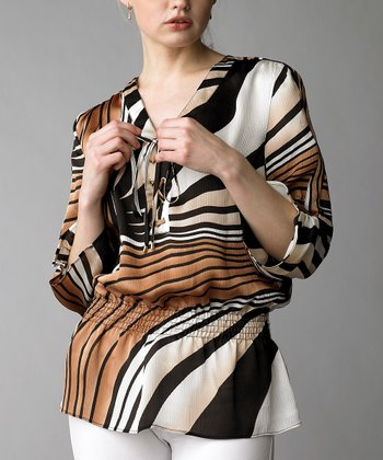 Brown & Black Stripe Shirred-Waist Top