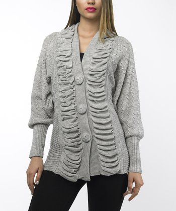 Taupe Shirred Wool-Blend Dolman Cardigan