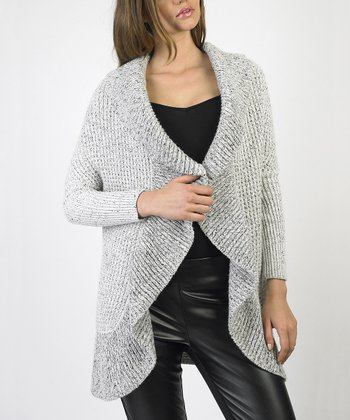 Ivory Ruffled Open Cardigan