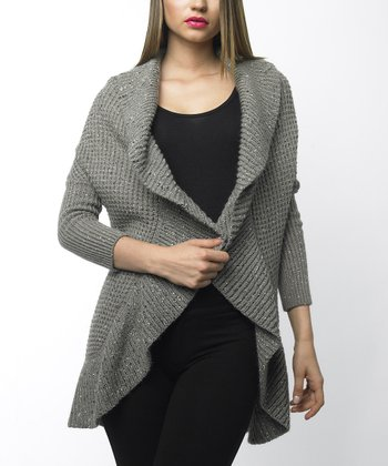 Taupe Ruffled Open Cardigan