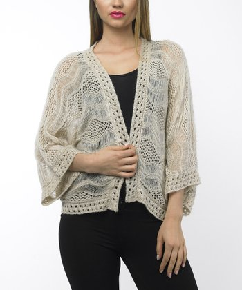 Beige Pointelle Open Cardigan