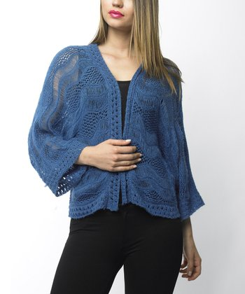 Blue Pointelle Open Cardigan