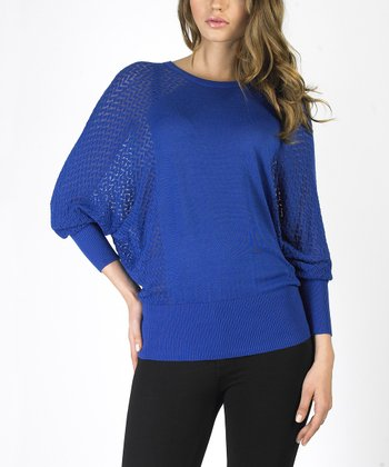 Blue Textured Dolman Sweater
