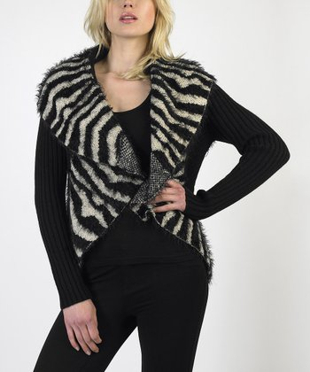 Black & White Zebra Stripe Wool-Blend Cardigan