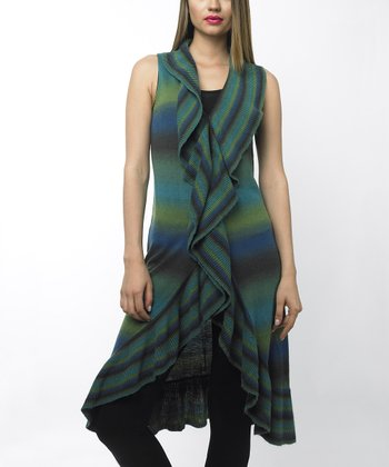 Green Ombré Ruffled Sleeveless Duster