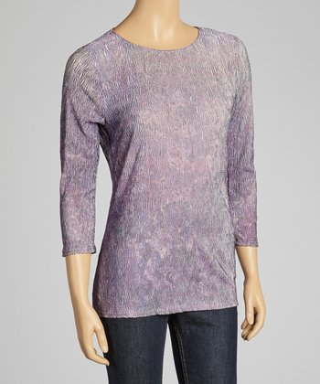 Purple Crinkle Three-Quarter Sleeve Top