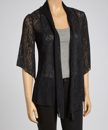 Black Lace Open Cardigan