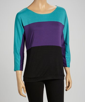 Jade & Purple Color Block Top