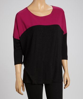Berry & Black Color Block Top
