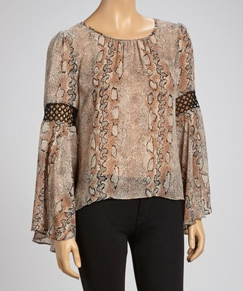 Taupe & Black Snake Crochet-Detail Peasant Top