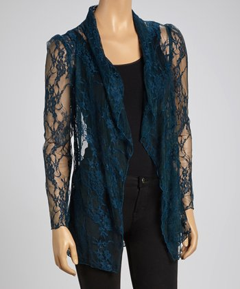 Teal Lace Open Cardigan