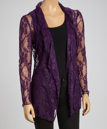 Plum Lace Open Cardigan