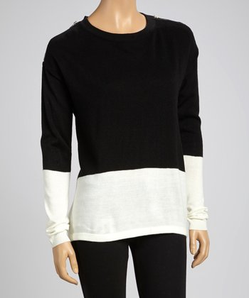 Black & White Color Block Zipper Detail Sweater