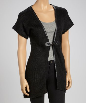 Black Knit Toggle Cardigan