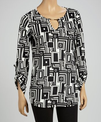 Black & White Geometric Keyhole Tunic