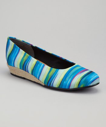 Blue & Green Stripe Empire Wedge