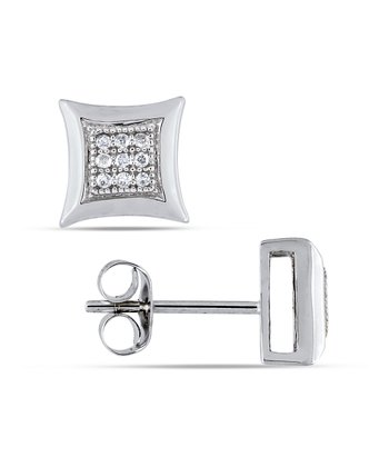 Diamond & White Gold Square Stud Earrings