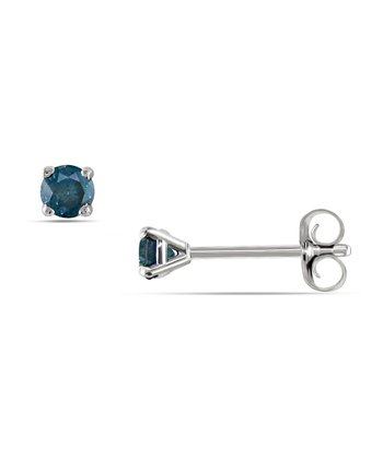 Blue Diamond & White Gold Solitaire Stud Earrings