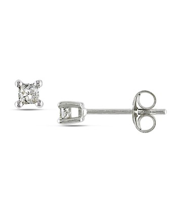 Diamond & Sterling Silver Stud Earrings
