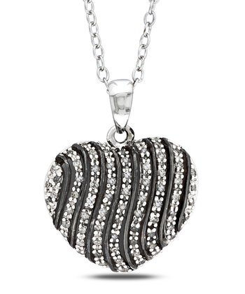 Diamond & Sterling Silver Stripe Heart Pendant Necklace