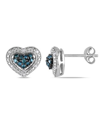 Blue & White Diamond & Silver Heart Stud Earrings