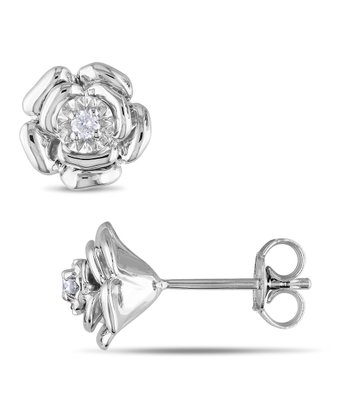 Diamond & Silver Rose Stud Earrings