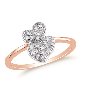 Diamond & Sterling Silver Double Heart Ring