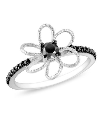 Black Diamond & Black Rhodium Flower Ring