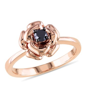 Black Diamond & Pink Rhodium Flower Ring