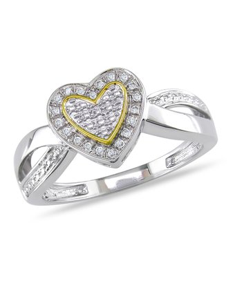 Diamond & Yellow Rhodium Heart Ring