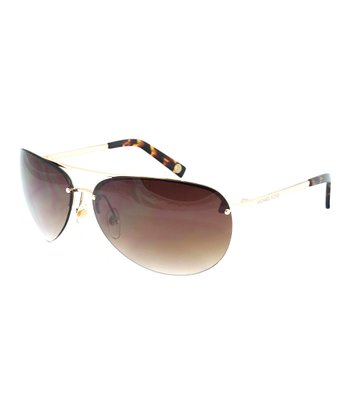 Shiny Gold Pilot Sunglasses