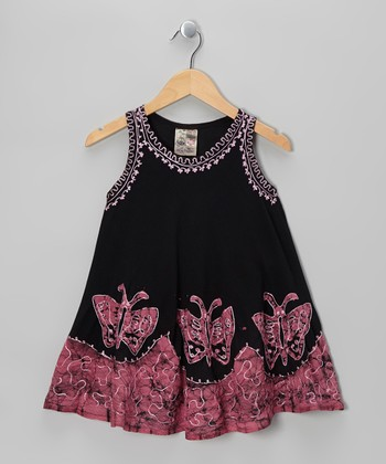 Black & Pink Butterfly Dress - Toddler & Girls