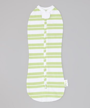 Green Stripe Summer Zipper Swaddle
