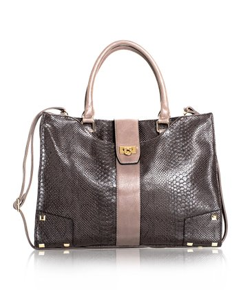 Dark Gray Studded Snakeskin Tote