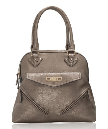 Pewter Double-Zip Tote