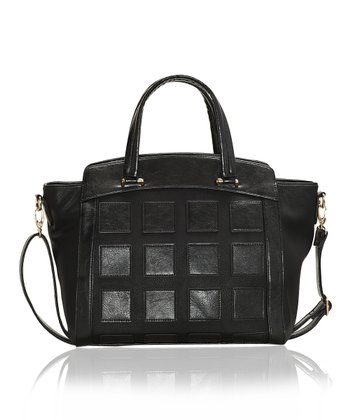 Black Quilted & Pebbled Tote