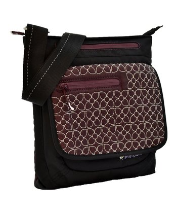 Plum Embroidered Jag Crossbody Bag