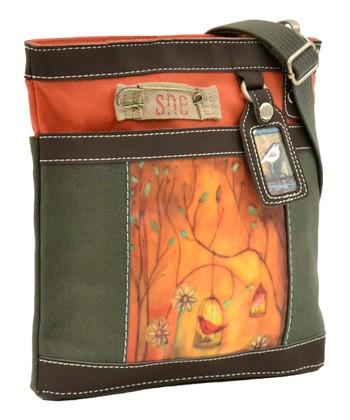 Sherpani Green & Pumpkin Two Songs Luna Crossbody Bag