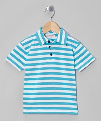 Turquoise Stripe Polo - Infant, Toddler & Boys