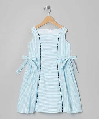Turquoise Stripe Anna Walton Dress - Infant, Toddler & Girls