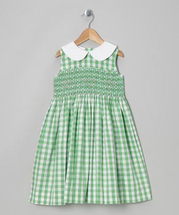 Green Gingham Smocked Dress - Infant, Toddler & Girls