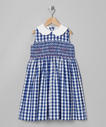 Blue Gingham Smocked Dress - Infant, Toddler & Girls