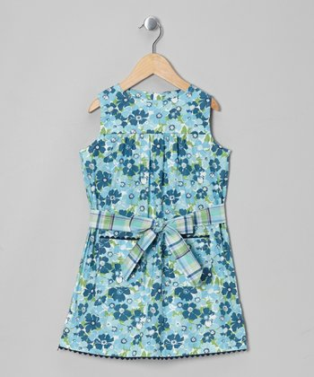 Blue & Green Floral Julie Dress - Toddler & Girls