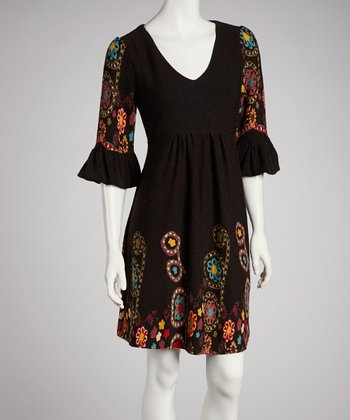Black Floral Ruffle Three-Quarter Sleeve Dress