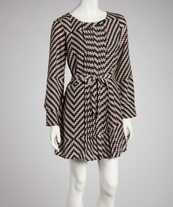 Taupe & Black Zigzag Dress